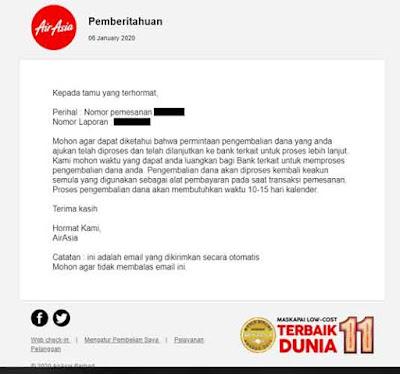 Email Refund Tiket Air Asia yang diselesaikan