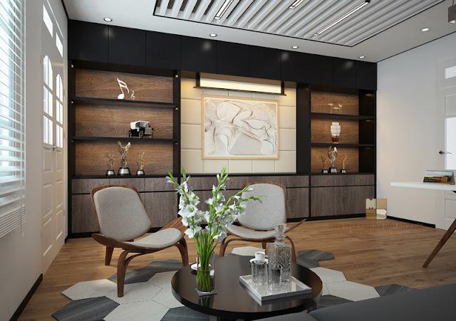 Để thể hiện được sự lịch lãm, uy quyền của lãnh đạo chọn thiết kế phòng giám đốc với nội thất được làm từ gỗ mang màu sắc trầm ổn như nâu trầm, vàng cánh gián