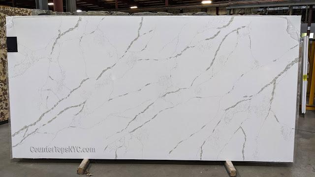 White Marble Look Quartz Slab NYC