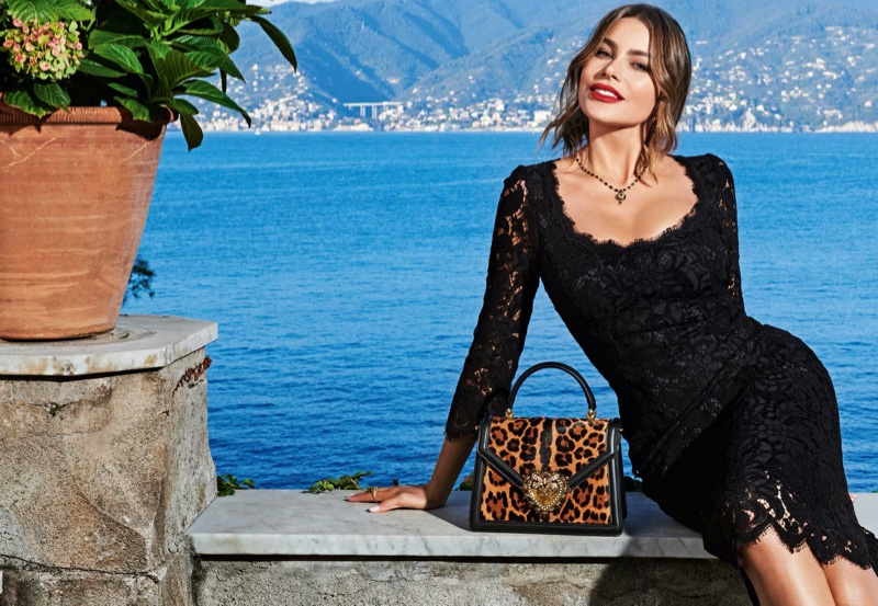 Sofia Vergara poses for Dolce & Gabbana Devotion handbag campaign
