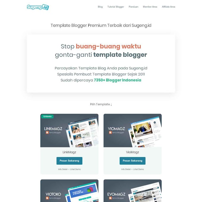Daftar Template Blogger Premium Terbaik buatan Sugeng.id