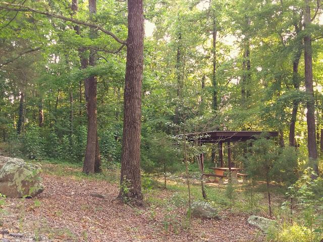 A campsite at Salado Rest Area camping area, Highway 167, Arkansas. June 2020.