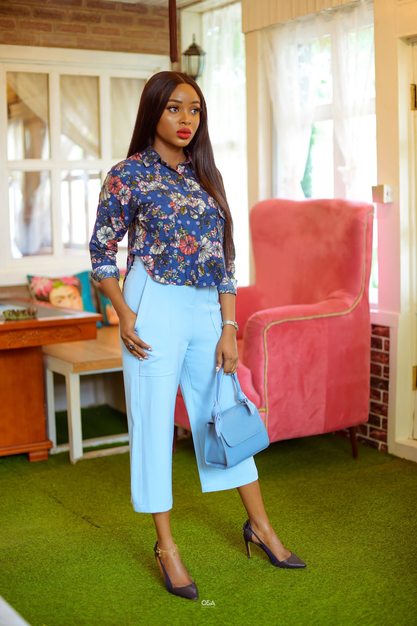How to style an all blue outfit