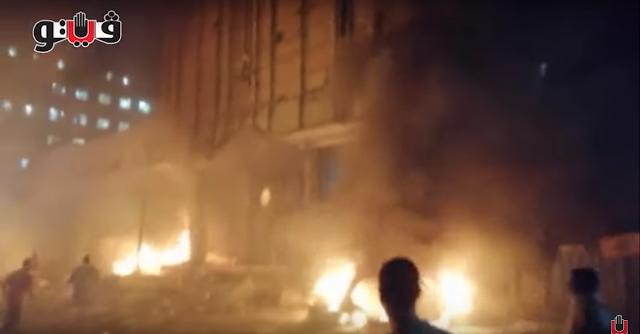 شاهد بالفيديو اللحظات الأولى من «حريق معهد الأورام» بالسيدة زينب