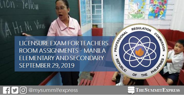 Manila Room Assignments for September 2019 LET teachers board exam