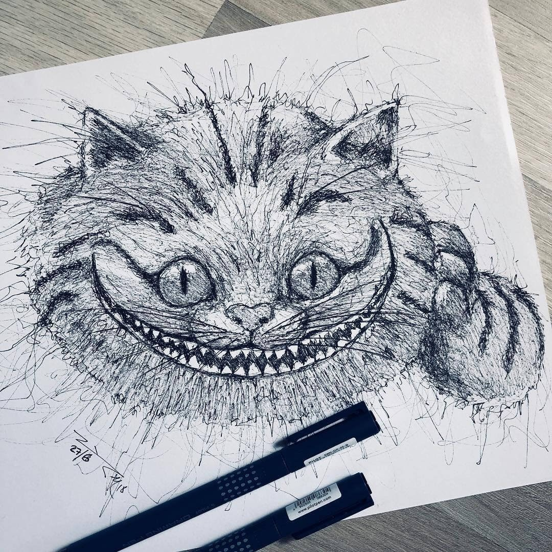 11-Alice-in-Wonderland-The-Cheshire-Cat-Jimmy-Mätlik-Fantasy-Animal-drawings-form-the-Movies-www-designstack-co