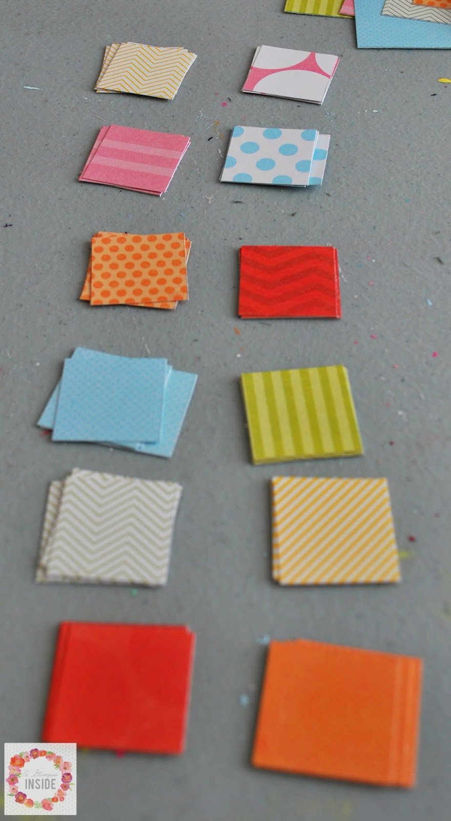 Paper squares all cut out