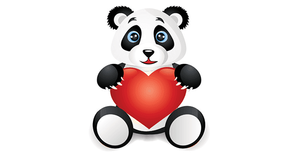 how to draw a panda holding a heart