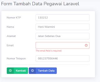 CRUD Data Pegawai dengan Laravel (Create Data)