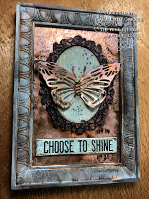 Sara Emily Barker https://sarascloset1.blogspot.com/2020/06/copper-penned-panel.html Mixed Media Panel #timholtz #sizzix #stampersanonymous #ranger 1