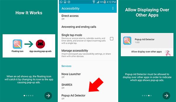 اعطاء تطبيق Popup Ad Detector الصلاحيات اللازمة للتطبيق
