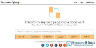 DocumentCyborg : convertir les pages web (PDF, DOC, EPUB, etc)