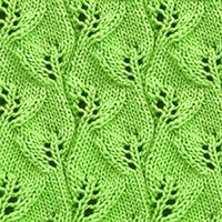 Overlapping Leaves stitch in the round. It's amazing how leaves star growing while knitting it!