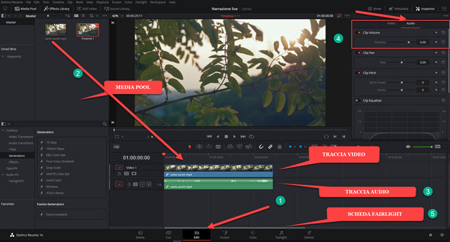 traccia audio e video in davinci resolve