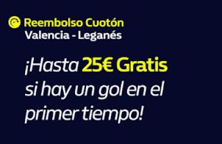 william hill Reembolso Valencia vs Leganes 22-9-2019