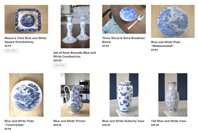 blue and white shop