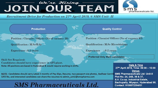 SMS Pharmaceuticals Ltd - Walk-In Drive  (23 Positions) on 27th Apr' 2019