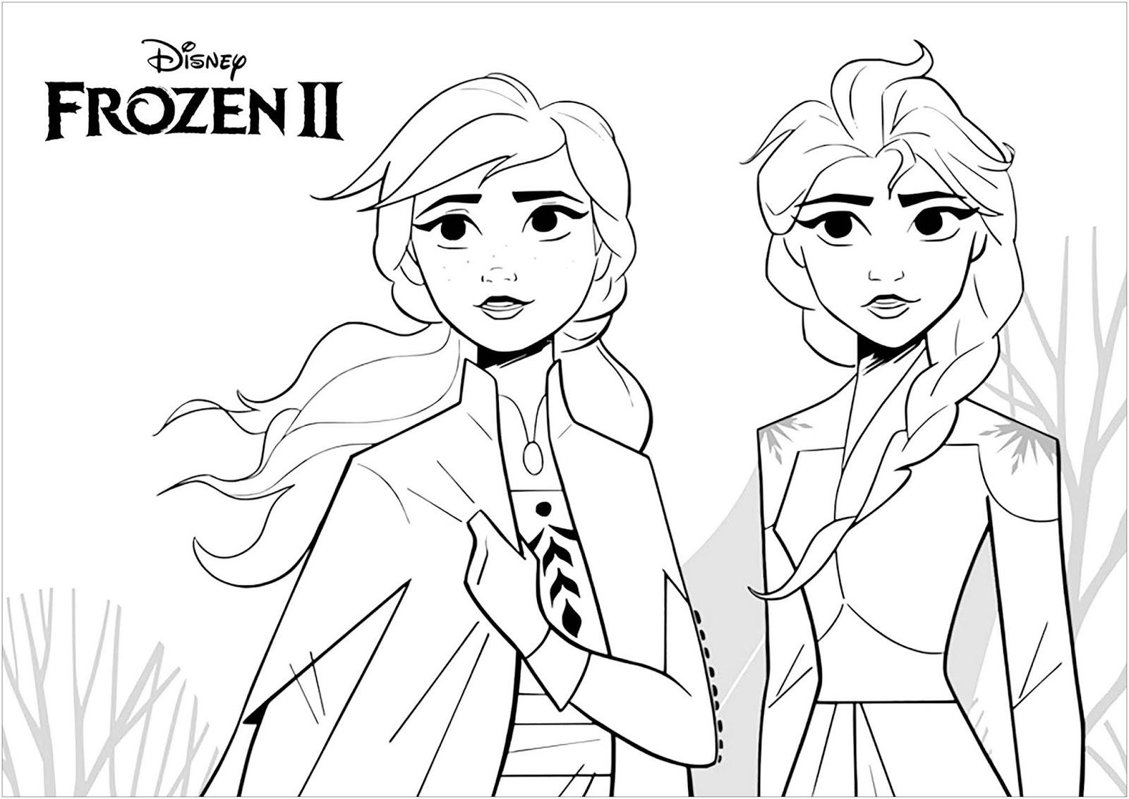 Tranh tô màu Elsa và Anna 24