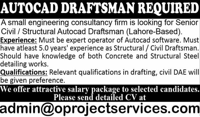 Autocad Draftsman Required in Lahore