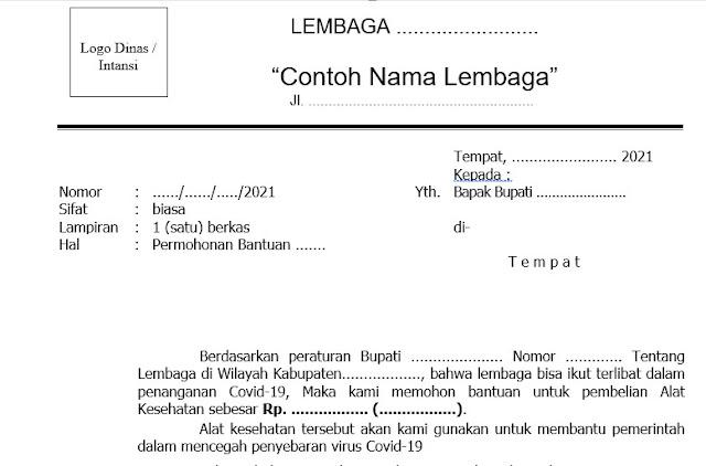 Contoh Surat Untuk Bupati dari lembaga