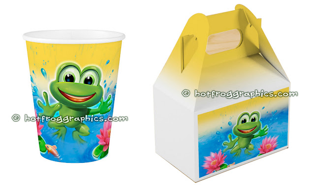 Birthday party cup and giftbox from Leaping Frog range by Hot Frog Graphics