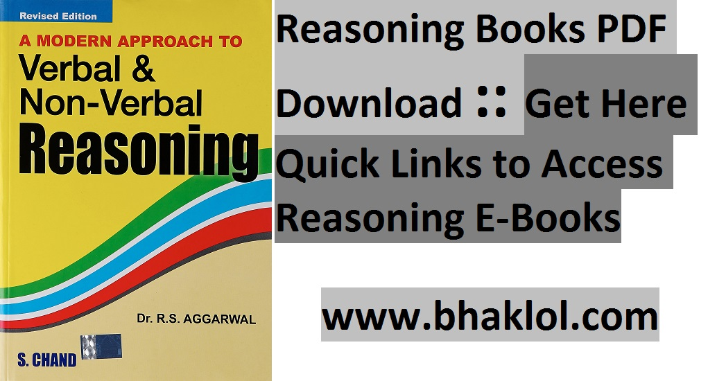 Verbal Non Verbal Reasoning By Rs Aggarwal Pdf