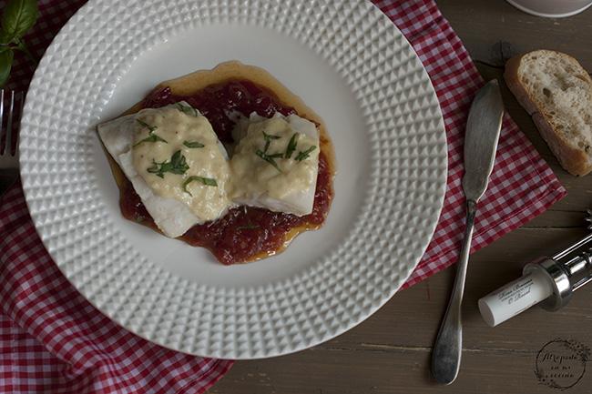 Bacalao con caramelo de tomate y crema de queso atrapada - Cocinar bacalao congelado ...