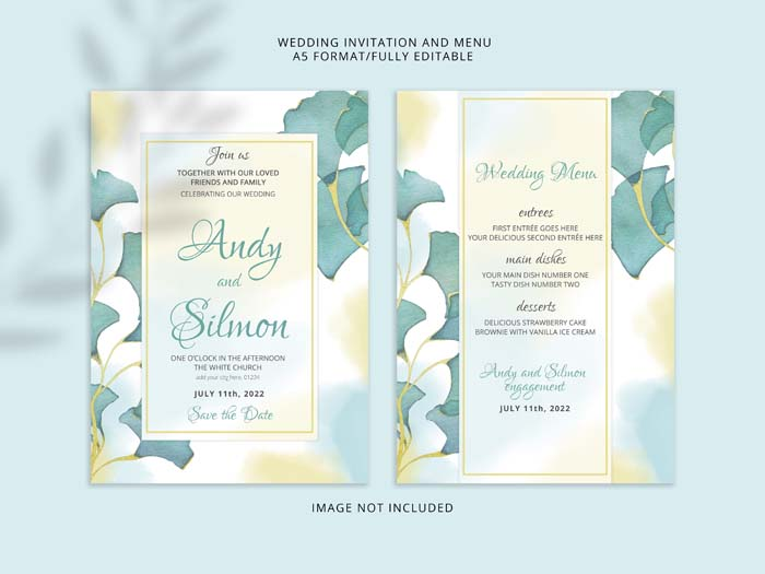 Beautiful Hand Drawing Floral Wedding Invitation premium PSD