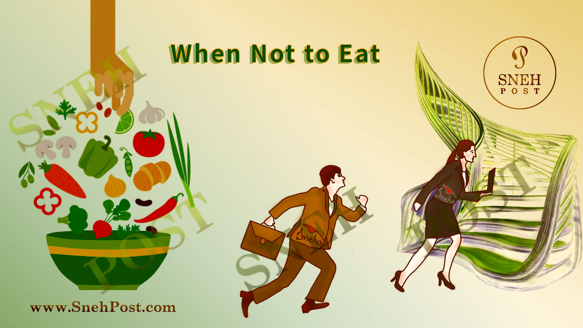 Bad eating habit: When not to eat (Illustration of foral-dress wearing man and woman in hurry to run to the office. Green background shows a hand picking up the healthy food to eat from floating vegetables and salad above a bowl such as capsicum, broccoli, carrot, tomatoe, coriander leaves, etc.)