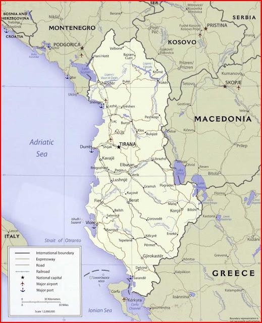 Gambar Peta politik Albania