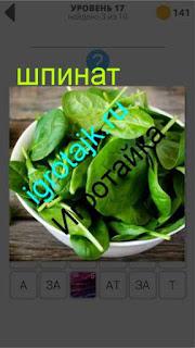 в тарелке лежит зеленый шпинат 17 уровень 400 плюс слов 2