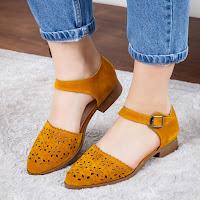 pantofi casual femei piele intoarsa decupati