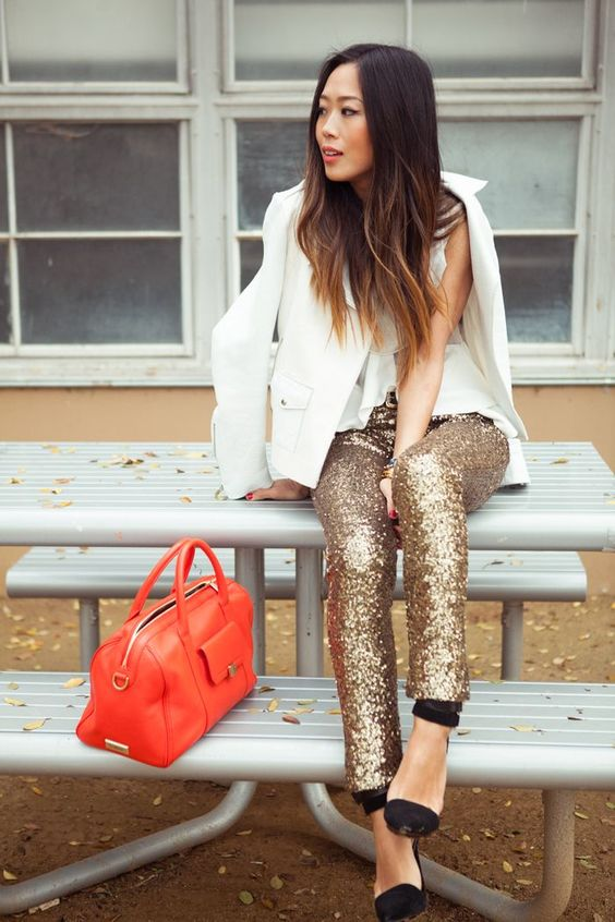 Aimee Song Gold Sequin Leggings