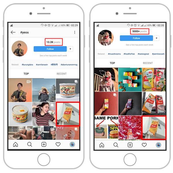 gambar penggunaan hashtag untuk gambar di instagram
