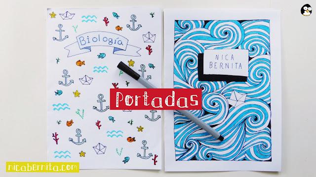 Ideas de portadas para decorar cuadernos y libretas. Nica Bernita (dibujo fácil  de olas para niños)