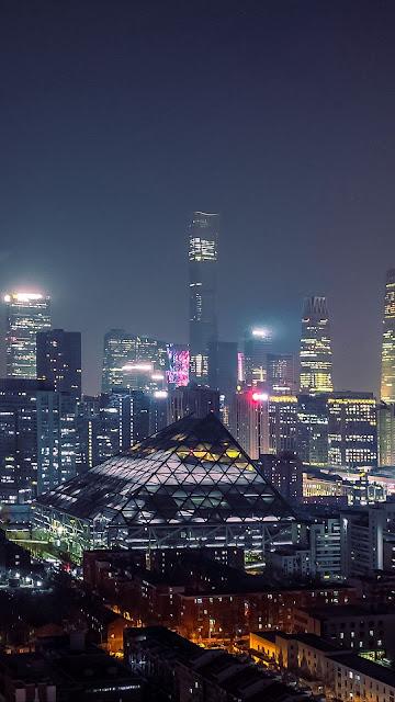HD Wallpaper City, Buildings, Aerial View, Lights, Night