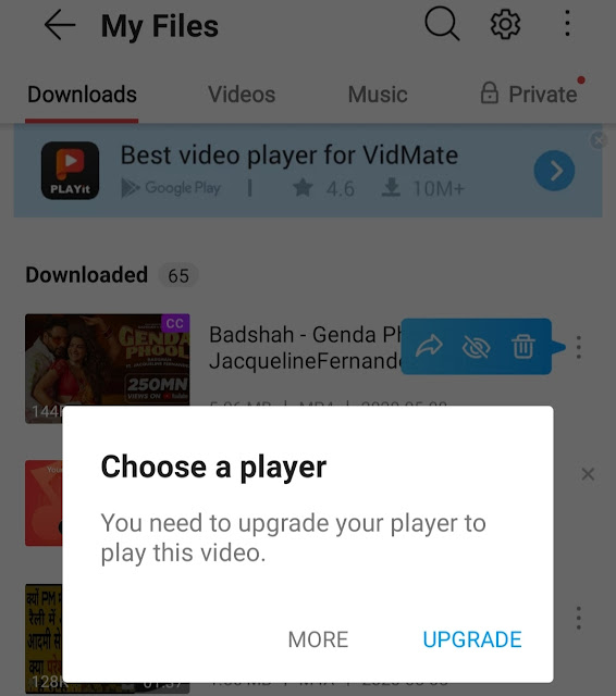 How to play Vidmate video without PLAYit