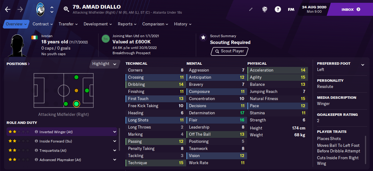 Amad Diallo FM21 Football Manager 2021