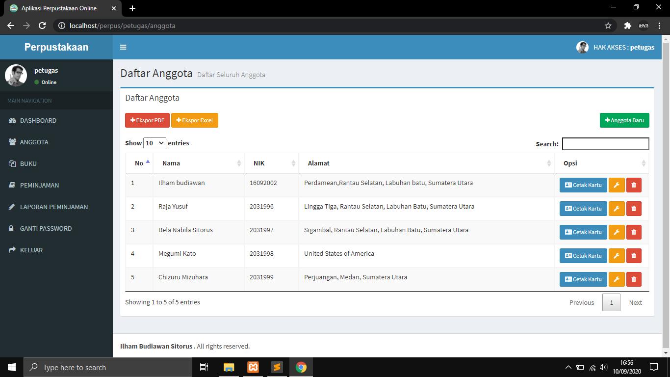 Aplikasi Perpustakaan Berbasis Web Codeigniter dan MYSQLi