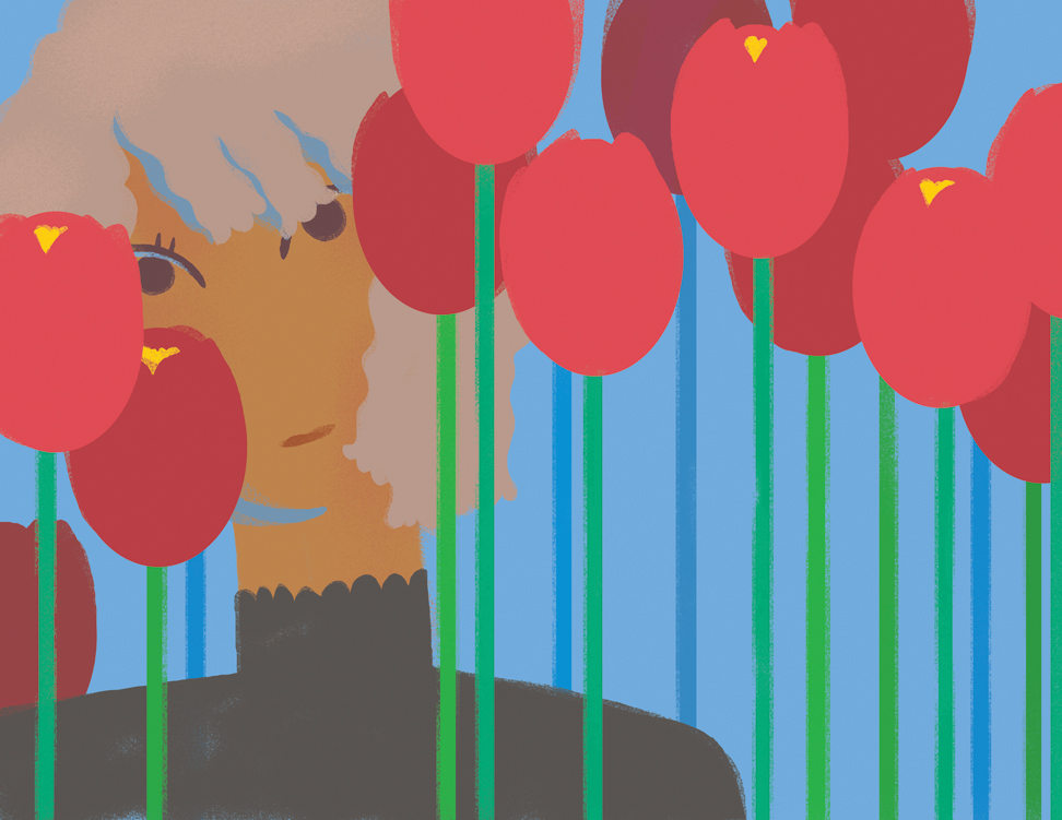arrows preview of woman with tulips