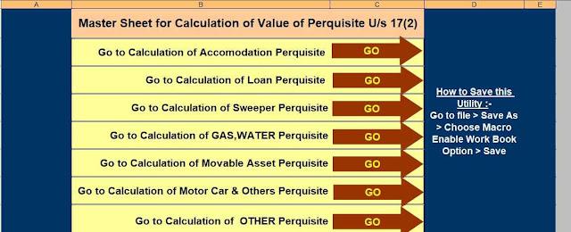 Value of Perquisite Calculator