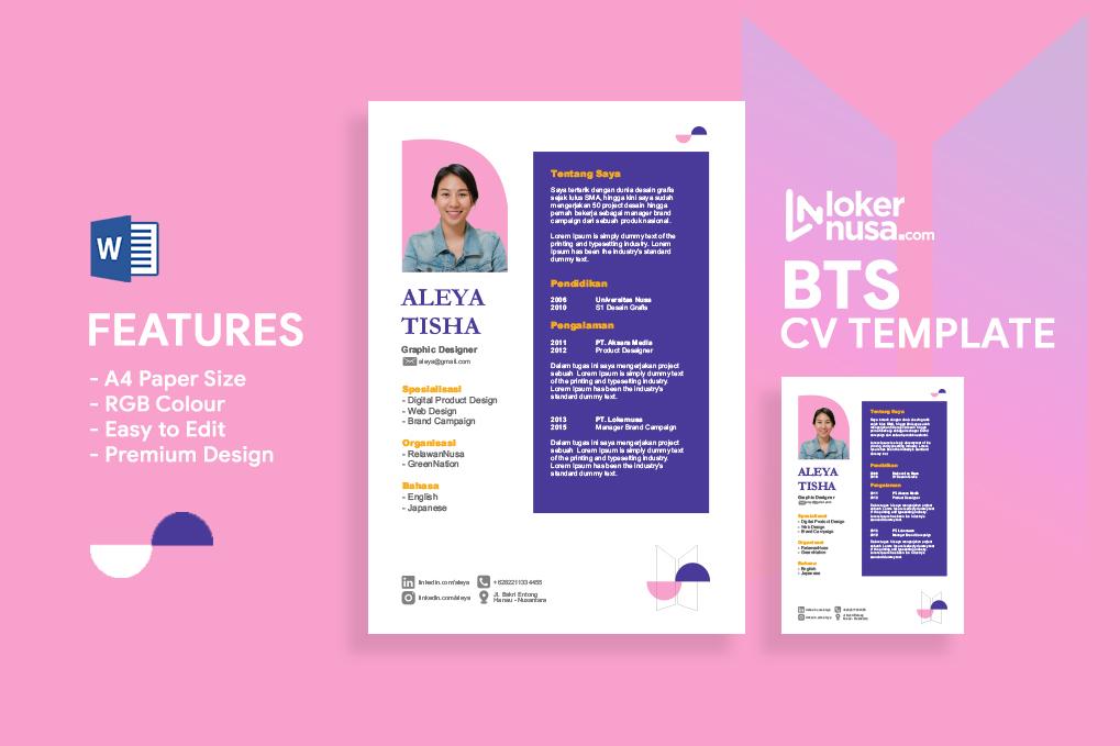 BTS CV Template Premium Lokernusa
