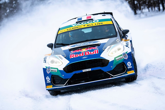 Adrien Fourmaux on Arctic Rally in his Ford Fiesta R2 Rally Car