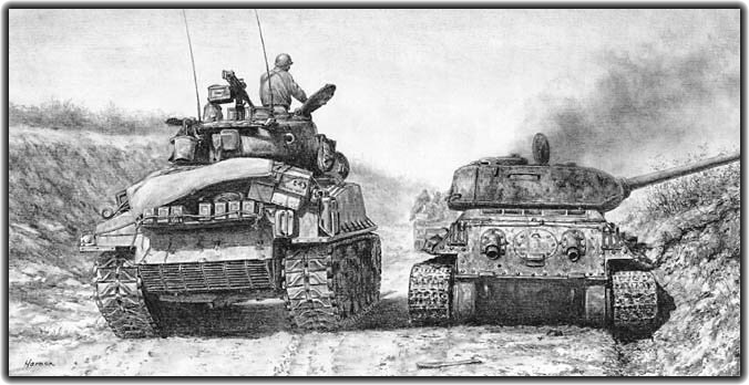 World War Ii In Pictures Sherman Tanks Vs T 34 Tanks