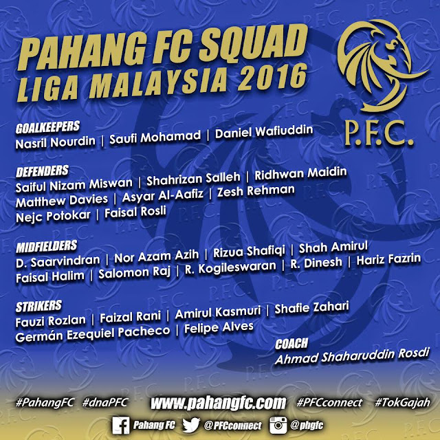 Senarai rasmi Pemain Pahang FC 2016