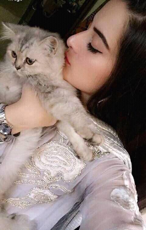 Zindaan and khali hath famost drama actress Aiman khan play with cat.Aiman khan kisses cat.