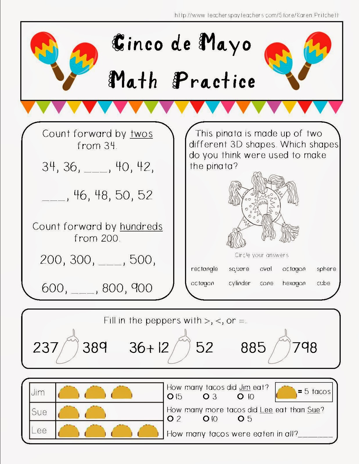Free Printable Cinco De Mayo Math Worksheet