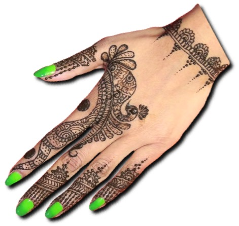 Back Hand Mehndi Design of Peacock
