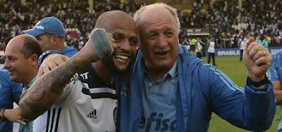 Felipe Melo e Luiz Felipe Scolari no Palmeiras: Verdão ainda negocia contratos com a Globo