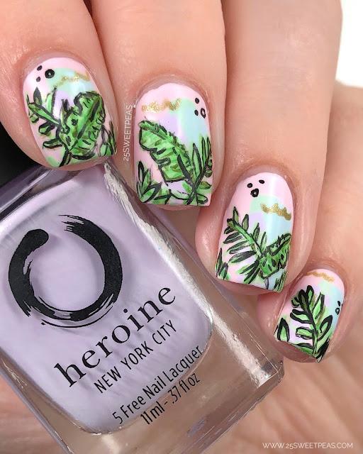 Tropical Leaf Nail Art